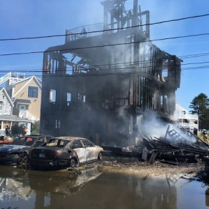 Newbury Fire Department Battles 5-Alarm Fire on Plum Island